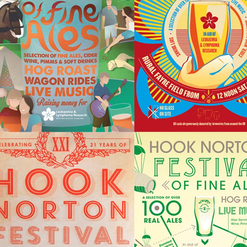 Take a look at our annual poster design projects for Hook Norton Festival